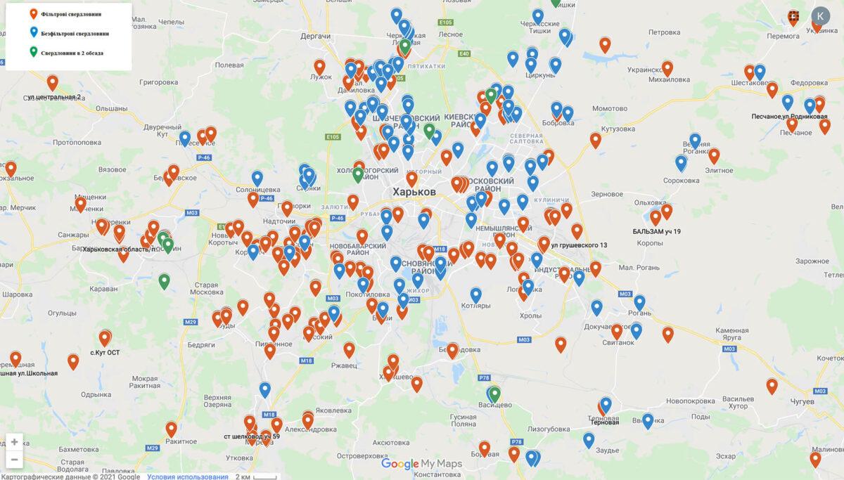 Мапа свердловин Харківської області